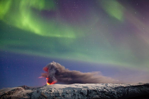 Eyafjallajokll and Northern Lights by Gunnar Blondal